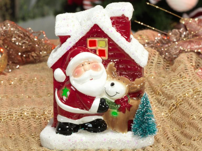 Decoração Natal de Cerâmica com Led 16cm de altura - Papai Noel com Rena - Dui Design