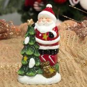 Decoração Natal de Cerâmica com Led 16,2cm de altura - Papai Noel na Árvore - Dui Design
