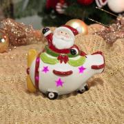 Decoração Natal de Cerâmica com Led 12,5cm de altura - Avião Nicolau - Dui Design