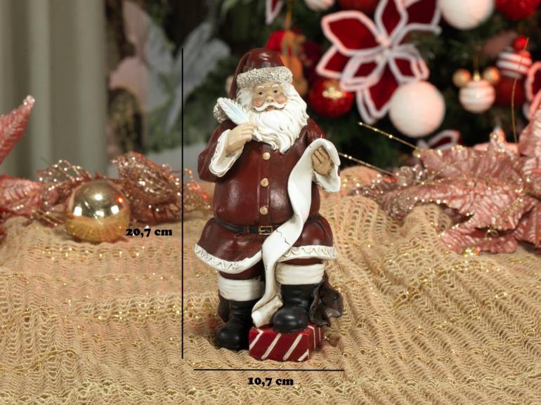 Decoração Natal de Poliresina com 20,7cm de altura - Lista do Papai Noel - Dui Design