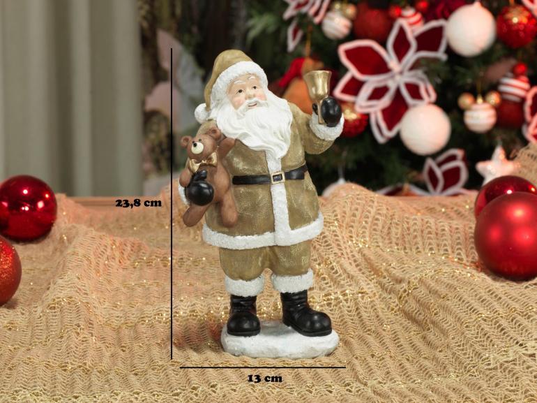 Decoração Natal de Poliresina com 23,8cm de altura - Papai Noel Dourado - Dui Design