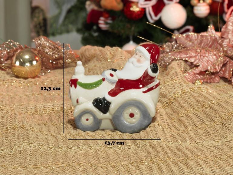 Decoração Natal de Cerâmica com 12,3cm de altura - Trator Nicolau - Dui Design