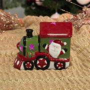 Decoração Natal de Cerâmica com 10cm de altura - Trem Nicolau com Led - Dui Design