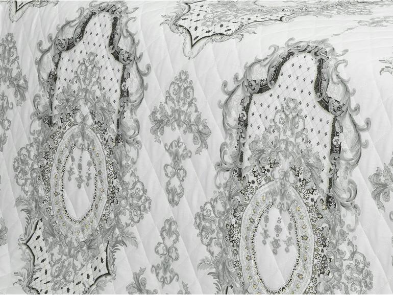 Enxoval Casal com Cobre-leito 7 peças Percal 180 fios - Delano Cinza - Dui Design