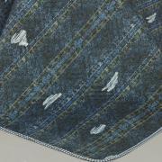 Kit: 1 Cobre-leito Casal Bouti de Microfibra Ultrasonic Estampada + 2 Porta-travesseiros - Denin Indigo - Dui Design