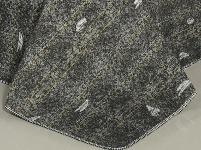 Kit: 1 Cobre-leito Queen Bouti de Microfibra Ultrasonic Estampada + 2 Porta-travesseiros - Denin Stone - Dui Design