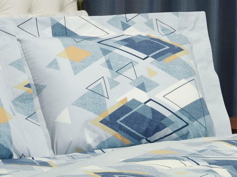 Jogo de Cama Queen Percal 200 fios - Denzel Azul - Dui Design