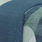 Kit: 1 Cobre-leito Queen Bouti de Microfibra Ultrasonic Estampada + 2 Porta-travesseiros - Dicaprio Azul - Dui Design