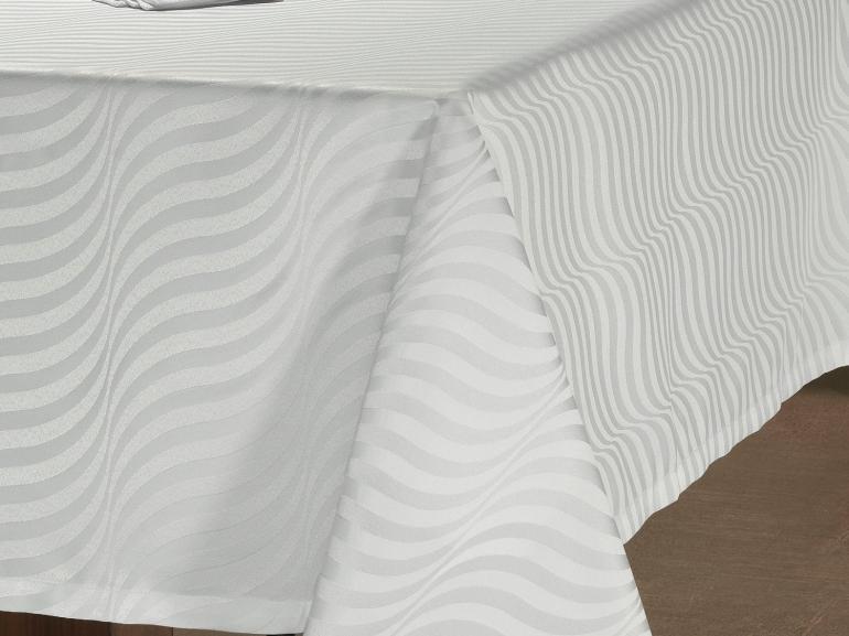 Toalha de Mesa Fácil de Limpar Retangular 6 Lugares 160x220cm - Dijon Branco - Dui Design