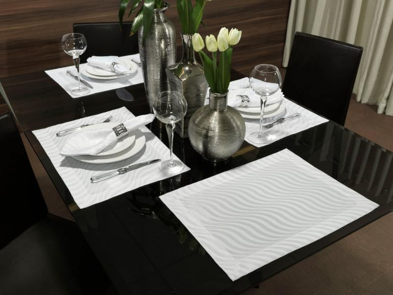 Jogo Americano 4 Lugares (4 peças) Fácil de Limpar 35x50cm - Dijon Branco - Dui Design
