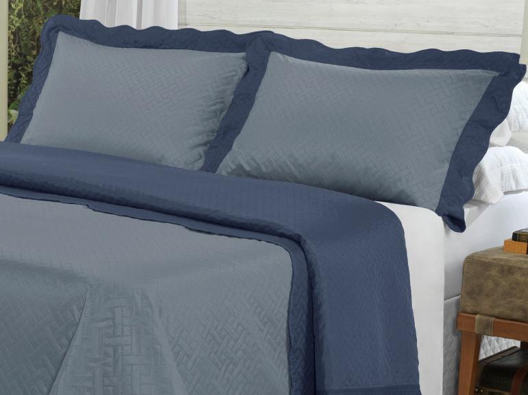 Kit: 1 Cobre-leito Queen Bouti de Microfibra Ultrasonic + 2 Porta-travesseiros - Dijon Jeans e Indigo - Dui Design
