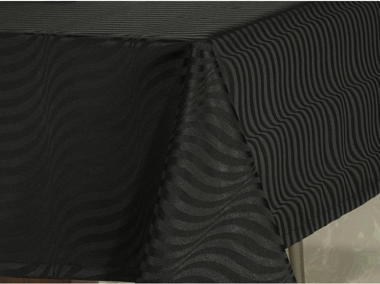 Toalha de Mesa Fácil de Limpar Quadrada 4 Lugares 160x160cm - Dijon Preto - Dui Design