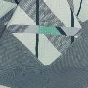 Kit: 1 Cobre-leito Queen Bouti de Microfibra Ultrasonic Estampada + 2 Porta-travesseiros - Dimitre Indigo - Dui Design