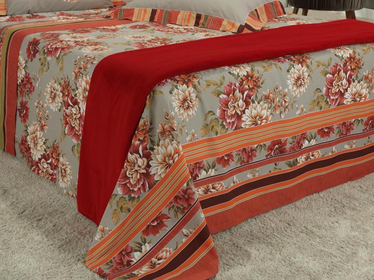 Kit: 1 Cobre-leito Solteiro + 1 Porta-travesseiro Percal 180 fios 100% Algodão - Dinah Vermelho - Dui Design