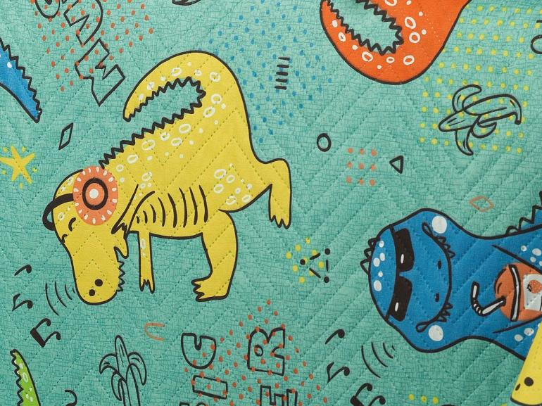 Kit: 1 Cobre-leito Casal Kids Bouti de Microfibra PatchWork Ultrasonic + 2 Porta-travesseiros - Dinos Dance - Dui Design