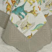 Kit: 1 Cobre-leito Solteiro Kids Bouti de Microfibra PatchWork Ultrasonic + 1 Porta-travesseiro - Dinos Park - Dui Design