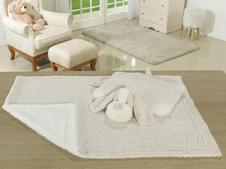 Kit: 1 Cobertor Baby Pele de Carneiro Sherpa + 1 Almofada Baby Kids de Bichinhos - Dog Bege Sherpa - Dui Design