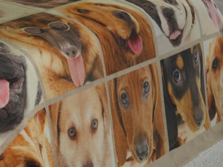 Cobertor Avulso Casal Flanelado com Estampa Digital 280 gramas/m² - Dogs Faces - Dui Design