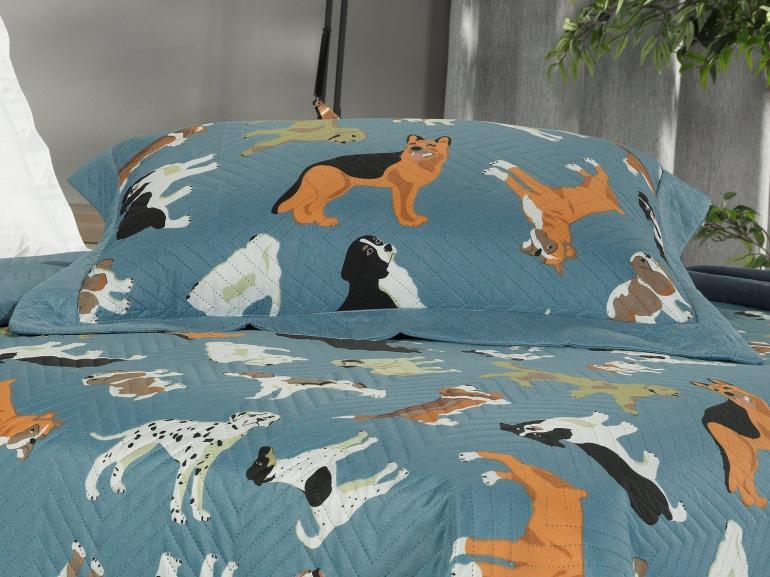 Kit: 1 Cobre-leito Solteiro Kids Bouti de Microfibra PatchWork Ultrasonic + 1 Porta-travesseiro - Dog Show Azul - Dui Design