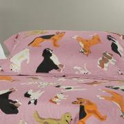 Kit: 1 Cobre-leito Casal Kids Bouti de Microfibra PatchWork Ultrasonic + 2 Porta-travesseiros - Dog Show Rosa Velho - Dui Design