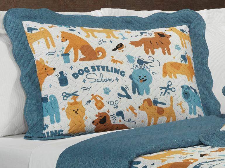 Kit: 1 Cobre-leito Solteiro Kids Bouti de Microfibra PatchWork Ultrasonic + 1 Porta-travesseiro - Dog Style - Dui Design