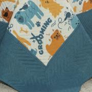Kit: 1 Cobre-leito Casal Kids Bouti de Microfibra PatchWork Ultrasonic + 2 Porta-travesseiros - Dog Style - Dui Design