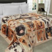 Cobertor Avulso Solteiro Flanelado com Estampa Digital 300 gramas/m² - Dog Faces - Dui Design