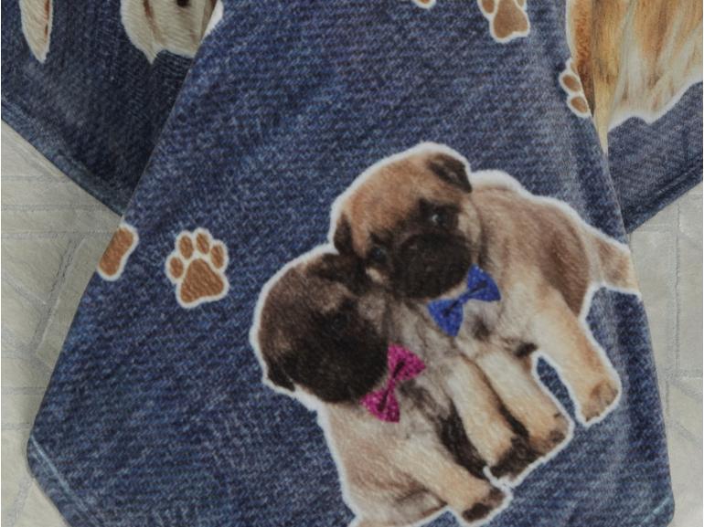 Cobertor Avulso Casal Flanelado com Estampa Digital 280 gramas/m² - Dogs Jeans - Dui Design