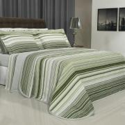 Kit: 1 Cobre-leito King + 2 Porta-travesseiros 150 fios - Doha Cinza e Verde - Dui Design
