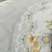 Kit: 1 Cobre-leito Solteiro + 1 Porta-travesseiro Percal 200 fios - Donatella Cinza - Dui Design