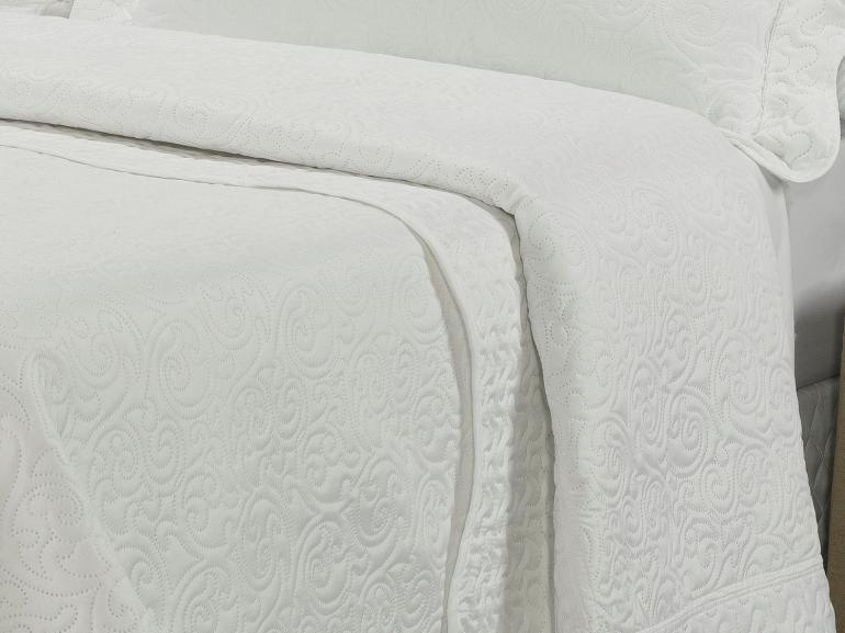 Kit: 1 Cobre-leito Queen Bouti de Microfibra Ultrasonic + 2 Porta-travesseiros - Donna Branco - Dui Design