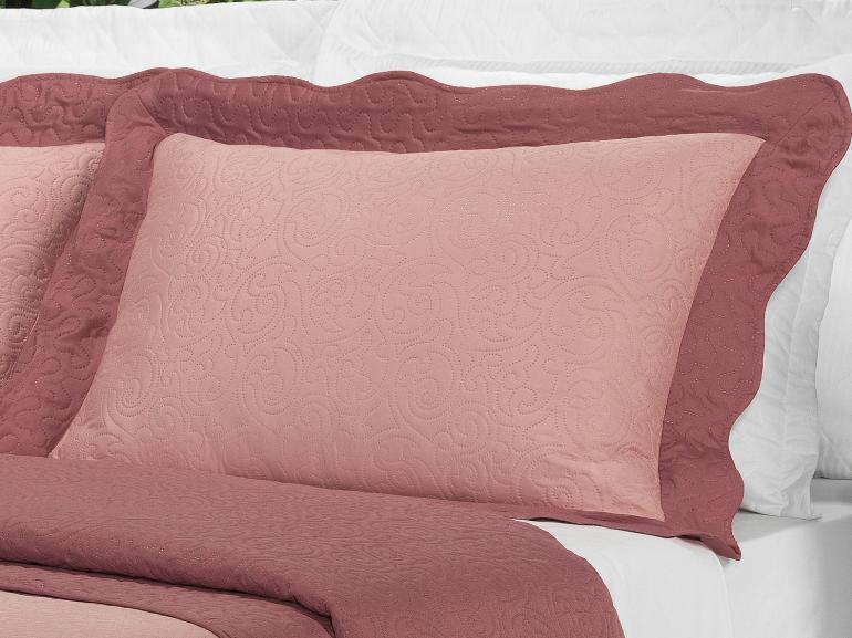 Kit: 1 Cobre-leito Queen Bouti de Microfibra Ultrasonic + 2 Porta-travesseiros - Donna Rosa - Dui Design