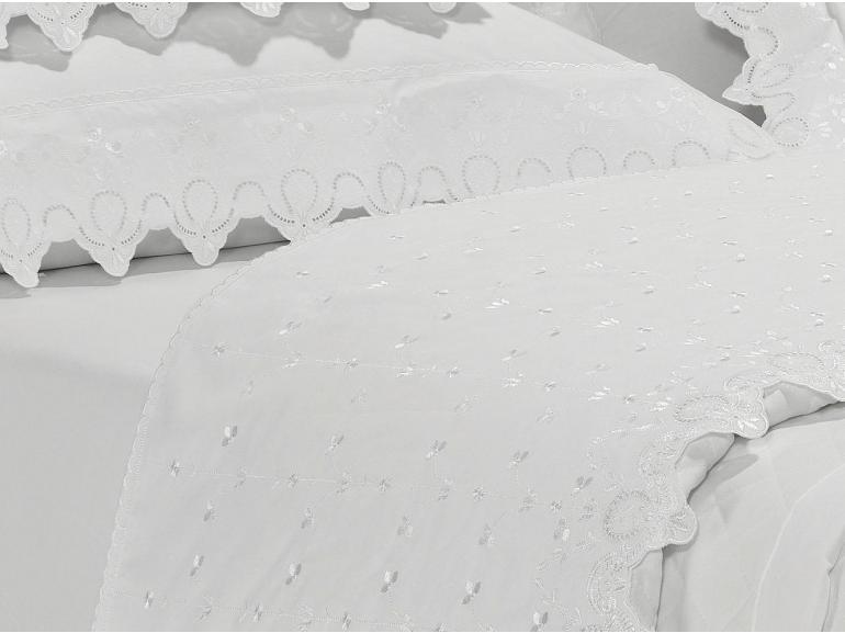 Jogo de Cama Queen Percal 200 fios com Bordado Inglês - Dover Branco - Dui Design