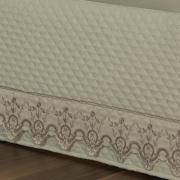 Saia para cama Box Matelassada com Bordado Inglês Casal - Dover Castanho - Dui Design