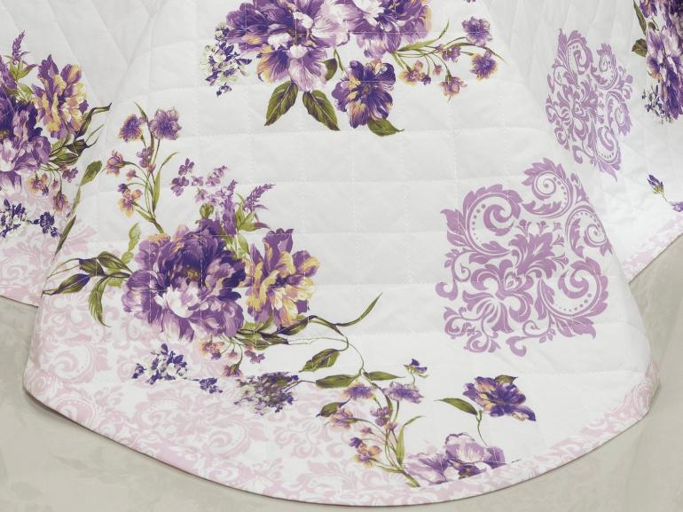Kit: 1 Cobre-leito Solteiro + 1 Porta-travesseiro Percal 200 fios - Drielle Lilas - Dui Design