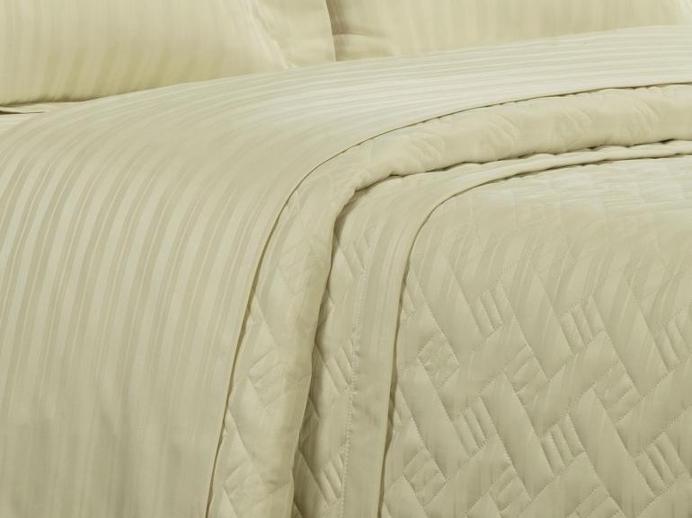 Kit: 1 Cobre-leito King + 2 porta-travesseiros Cetim de Algodão 1.000 fios - Dublin Marfim - Dui Design