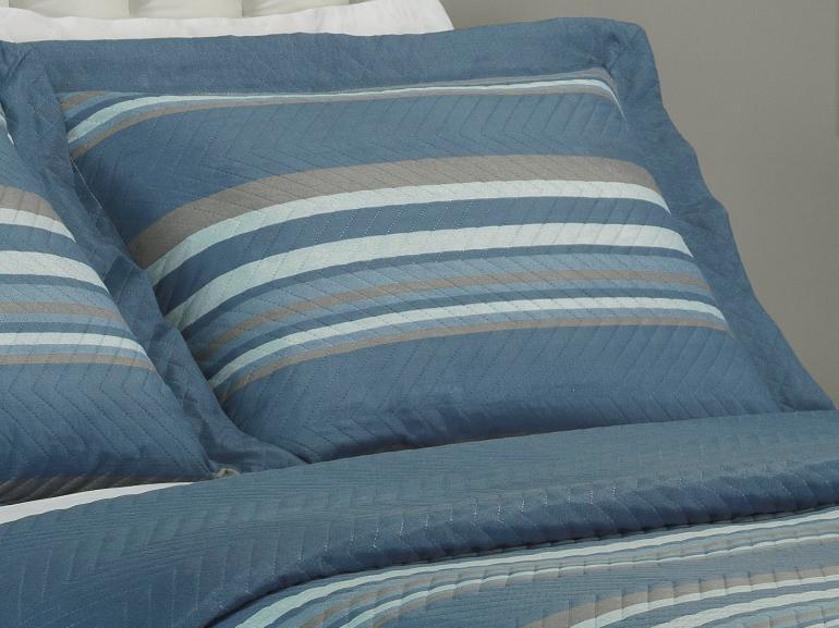 Kit: 1 Cobre-leito King Bouti de Microfibra Ultrasonic Estampada + 2 Porta-travesseiros - Edgar Azul - Dui Design