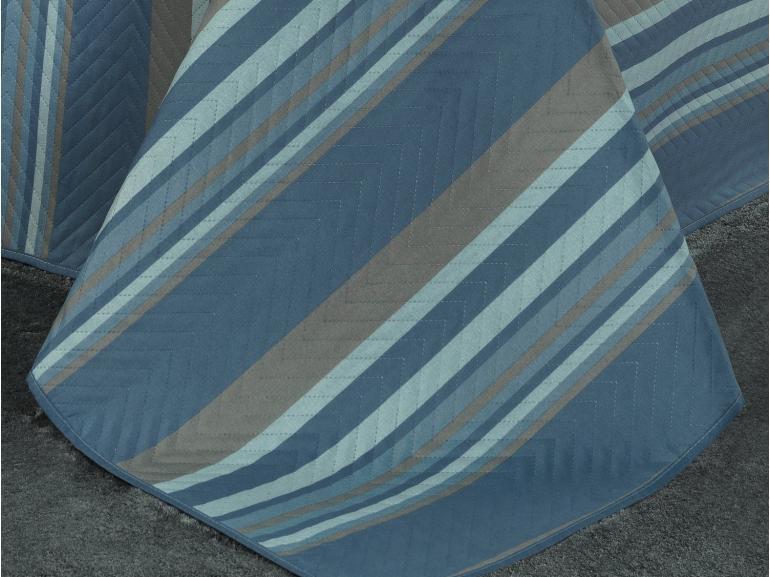 Kit: 1 Cobre-leito Solteiro Bouti de Microfibra Ultrasonic Estampada + 1 Porta-travesseiro - Edgar Azul - Dui Design