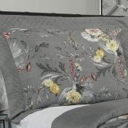 Kit: 1 Cobre-leito Queen Bouti de Microfibra Ultrasonic Estampada + 2 Porta-travesseiros - Elaine Cinza - Dui Design