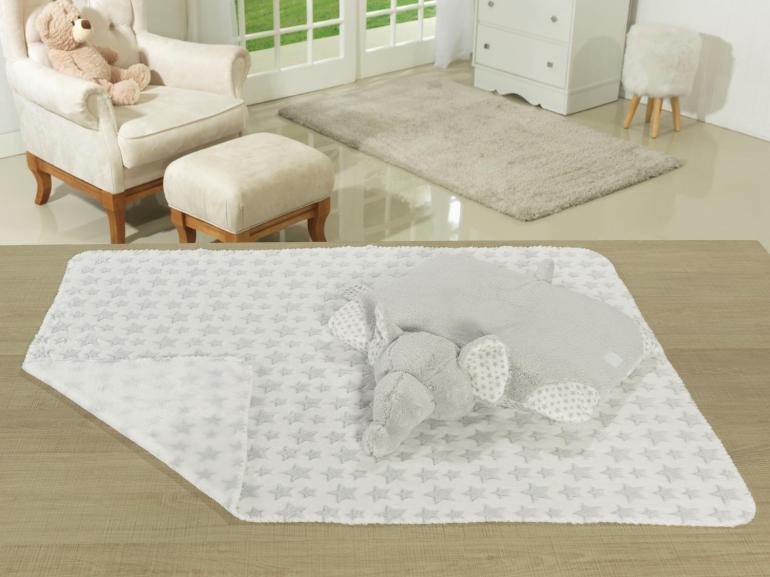 Kit: 1 Manta Jacquard Baby de Microfibra + 1 Almofada Baby Kids de Bichinhos - Elefante Cinza - Dui Design