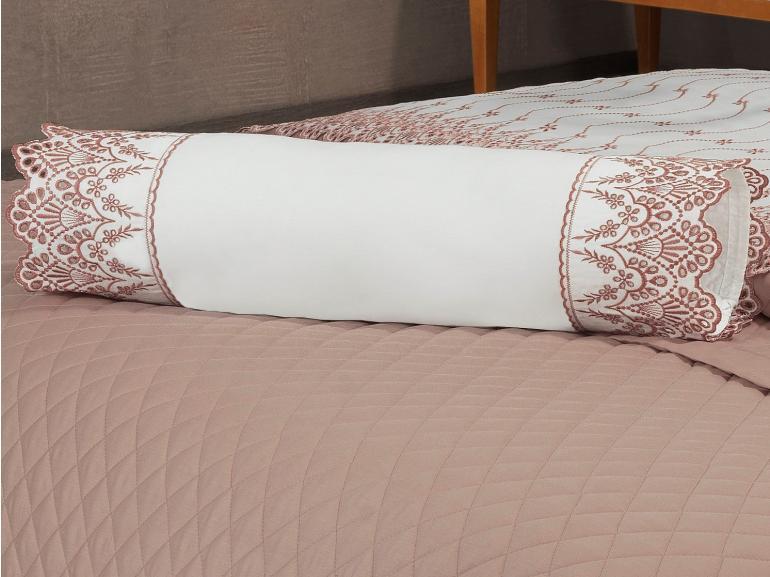 Enxoval 10 peças com Cobre-leito Casal Cetim de Algodão 300 fios com Bordado Inglês - Elegance Branco e Blush - Dui Design