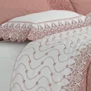 Enxoval 10 peças com Cobre-leito King Cetim de Algodão 300 fios com Bordado Inglês - Elegance Branco e Blush - Dui Design