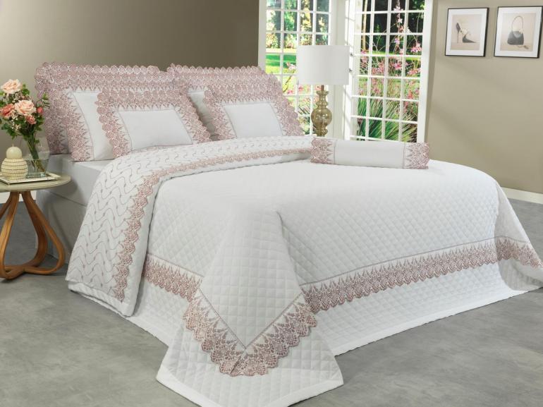 Jogo de Cama King Cetim de Algodão 300 fios com Bordado Inglês - Elegance Branco e Rosa Velho - Dui Design