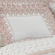 Jogo de Cama Casal Cetim de Algodão 300 fios com Bordado Inglês - Elegance Branco e Rosa Velho - Dui Design
