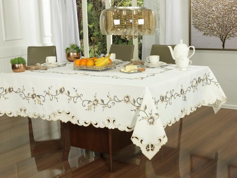 Toalha de Mesa com Bordado Richelieu Retangular 6 Lugares 160x220cm - Elenice Bege - Dui Design