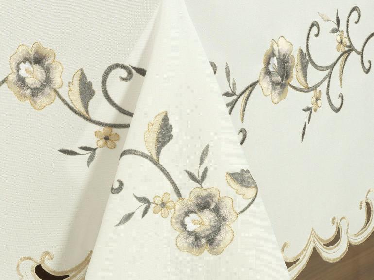 Toalha de Mesa com Bordado Richelieu Retangular 8 Lugares 160x270cm - Elenice Bege - Dui Design
