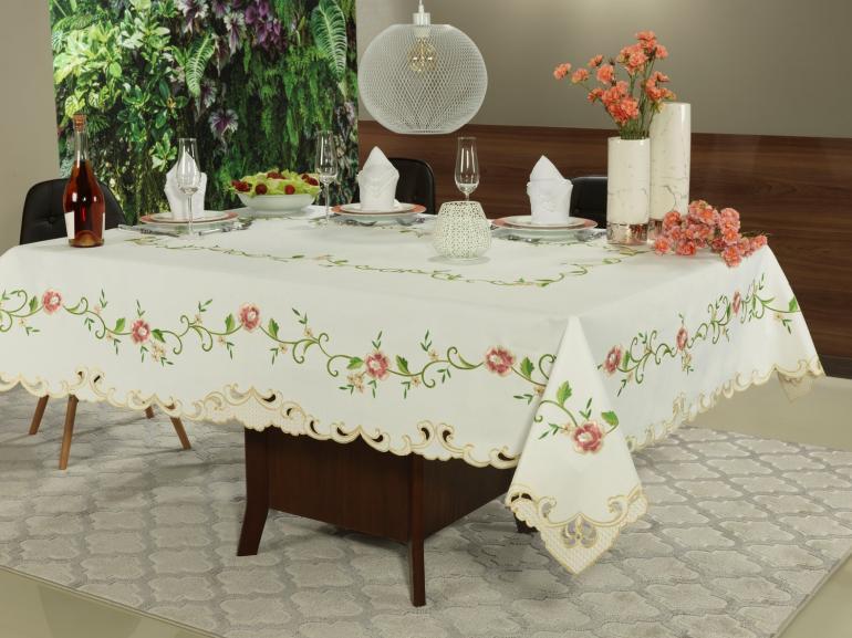 Toalha de Mesa com Bordado Richelieu Retangular 6 Lugares 160x220cm - Elenice Rosa - Dui Design