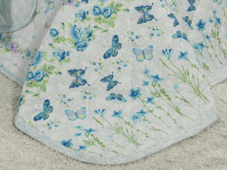 Kit: 1 Cobre-leito Solteiro + 1 Porta-travesseiro Percal 180 fios - Elisete Blue Azul - Dui Design