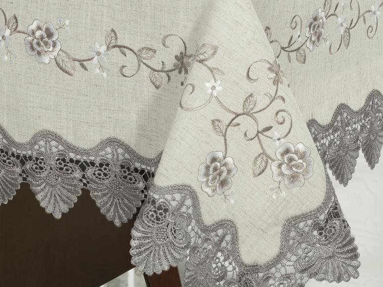 Toalha de Mesa com Bordado Richelieu Quadrada 8 Lugares 220x220cm - Eliza Bege e Castanho - Dui Design