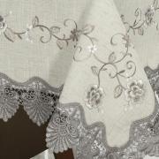 Toalha de Mesa com Bordado Richelieu Quadrada 4 Lugares 160x160cm - Eliza Bege e Castanho - Dui Design